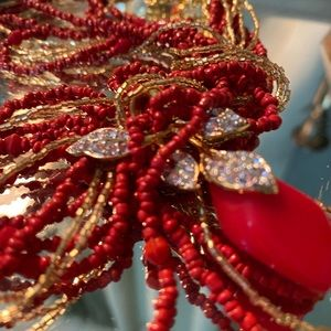 NOLAN MILLER Red/Gold Seed Bead Lucite Necklace